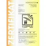 Zertifikat Zack Premium grün 150x150 Zertifizierter UV 80 Schutz nach Standard 801 für Zack Premium