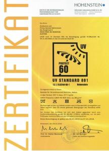Zertifikat UV60 Hohenstein 216x300 Strandzelt Helios